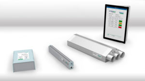 From left to right: Meech's IonCharge 30, 960IPS ionising bar, CyClean R and an example of SmartControl viewed through a remote device