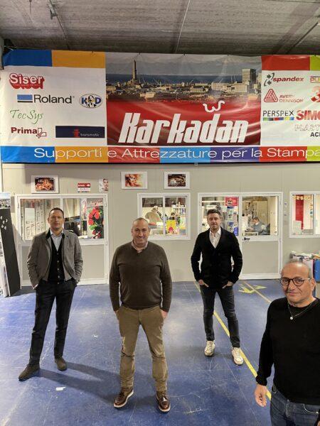 Da sinistra verso destra: Alessandro Lanfranconi (General Manager Spandex Italy), Antonio Rivetti (fondatore Karkadan), Claudio Fabbri (Sales Director Spandex Italy) e Giuseppe Marzella (Finance Director Spandex Italy)